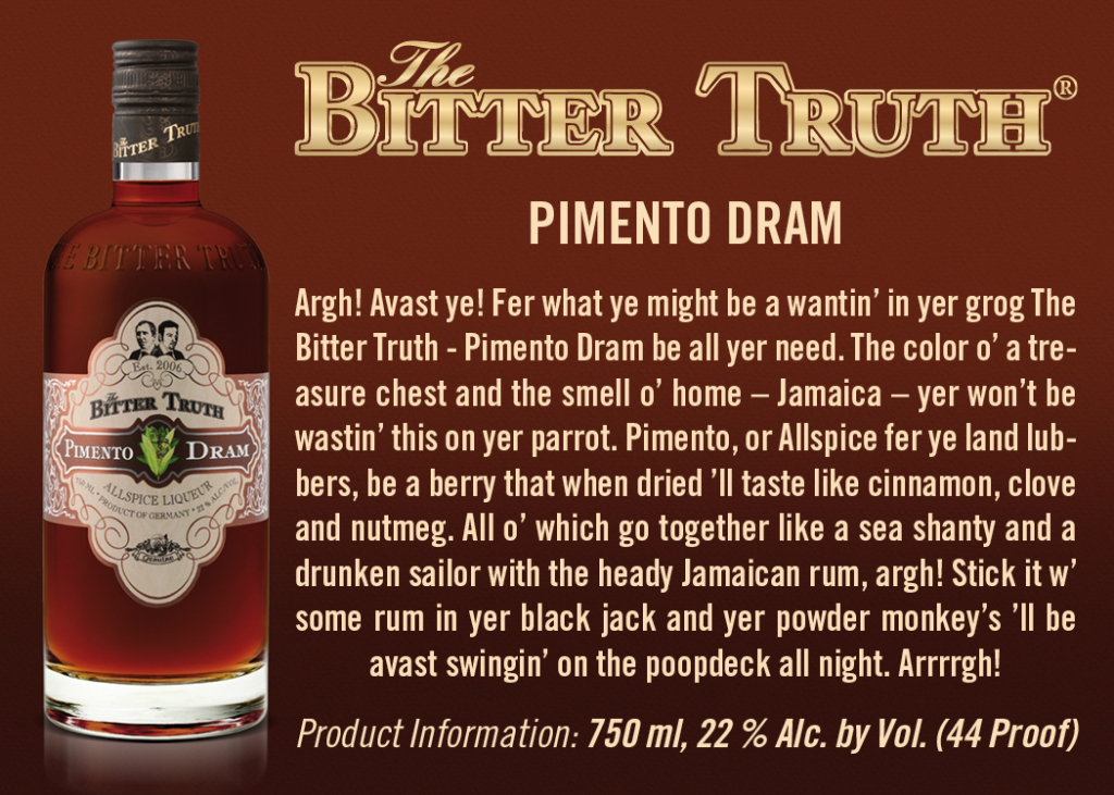 Shelf Talker The Bitter Truth Pimento Dram