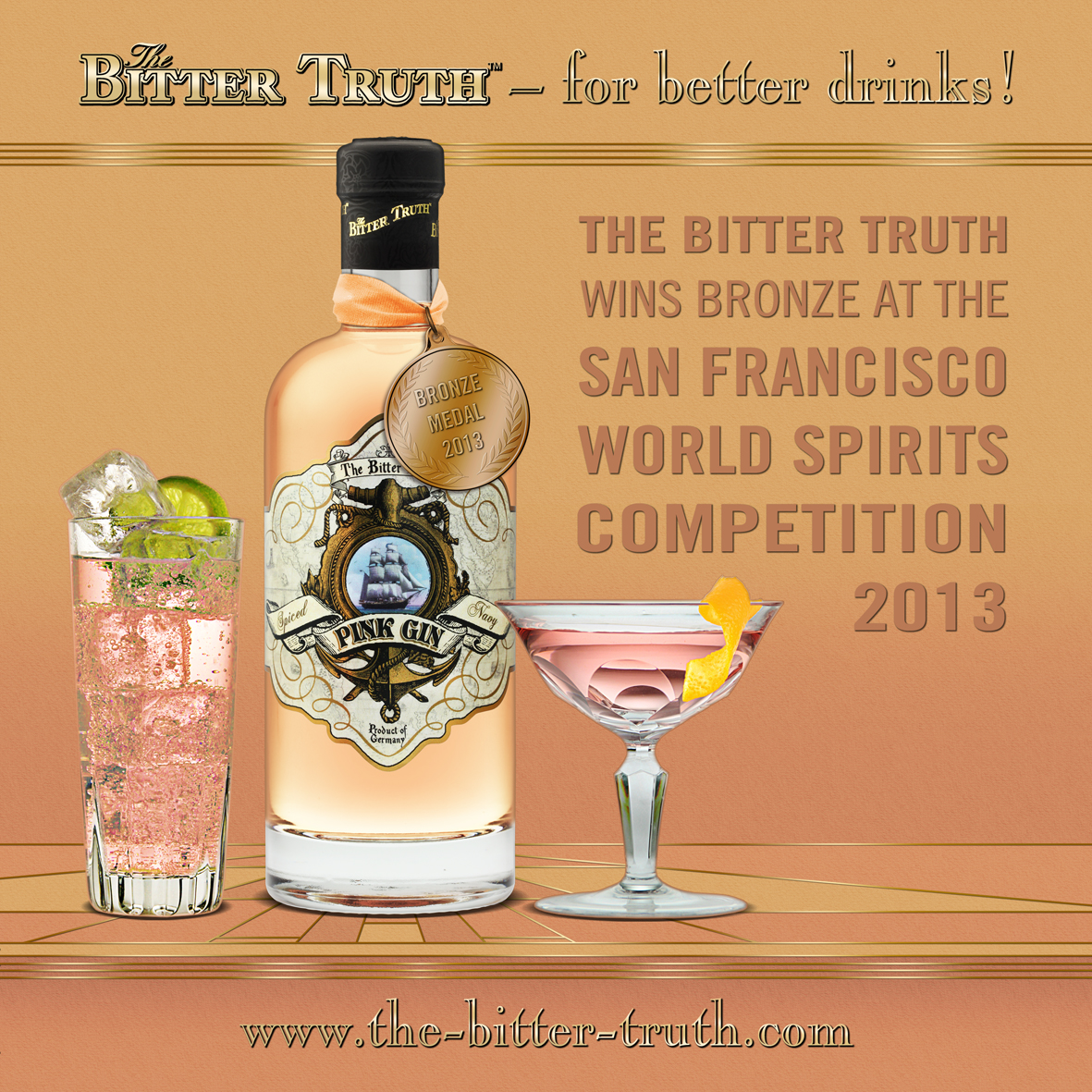 The Bitter Truth - Pink Gin wins bronze medal at The San Francisco World Spirits Competition
