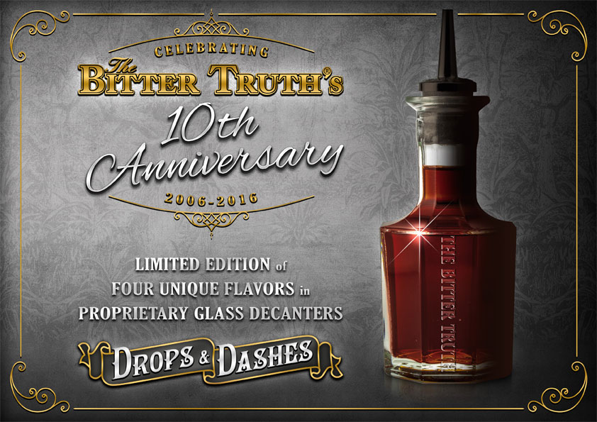 The Bitter Truth Drops & Dashes embossed glass decanter