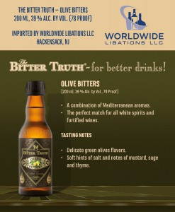 Shelf Talker The Bitter Truth Olive Bitters USA
