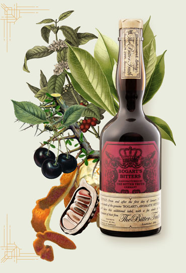 The Bitter Truth Bogart`s Bitters bottle Illustration with spices