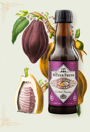 The Bitter Truth Chocolate Bitters Illustration with cacao fruit