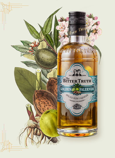 The Bitter Truth Golden Falernum Liqueur Illustration with spices