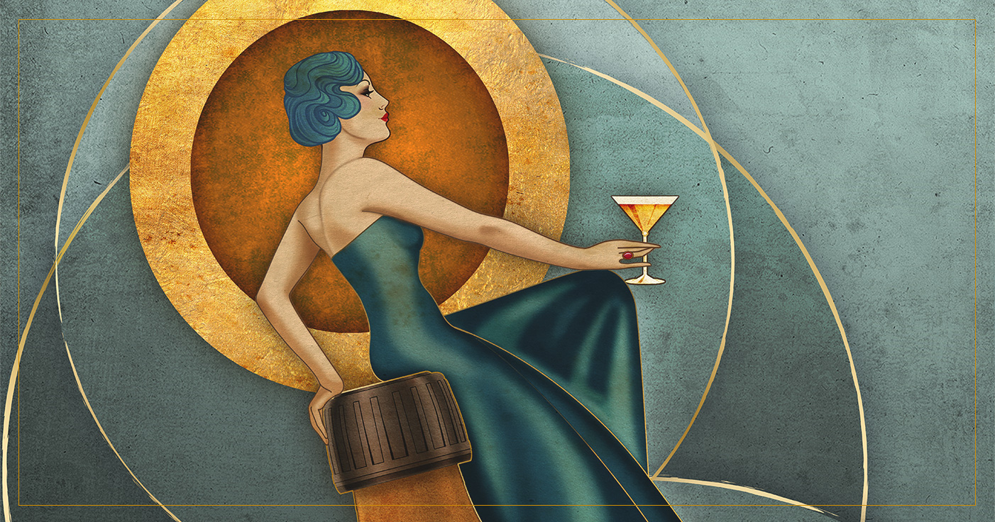 illustrated Artdeco Image of woman holding a cocktail