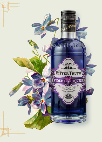 The Bitter Truth Violet Liqueur Illustration with violet flowers