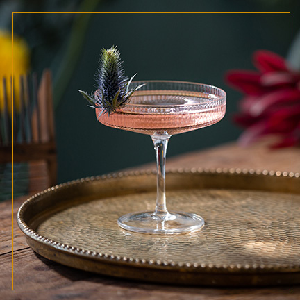 Pink Gin Cocktail on brass plate